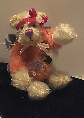 Hermann Teddy Original White and Pink Mohair Miniature with Wings and Hair Band!