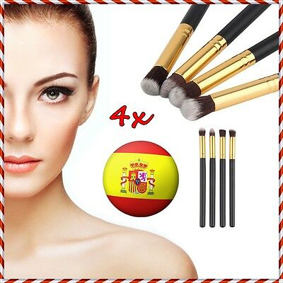 4x BROCHAS PINCELES MADERA SET MAQUILLAJE PROFESIONAL COSMETICO MAKEUP BRUSHES 1