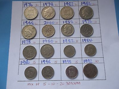 16 Greek Coin Mix Of 5/10/20 Drachma 1976-2000 [ #b194 ] Good Collection Builder