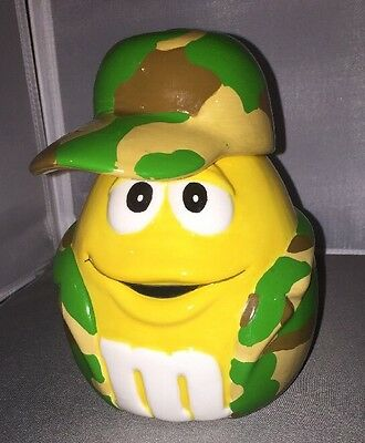 M&M's Yellow Soldier Ceramic Cookie Candy Jar Camo Camouflage