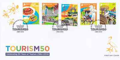 SINGAPORE - 2014 - FDC: 50 Years of Tourism. 5v