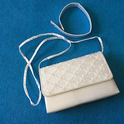 White Beaded satin purse - ideal for bridal, wedding, prom, formal