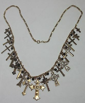 Vintage 21 Religious Cross Figaro Link Chain Goldtone Necklace