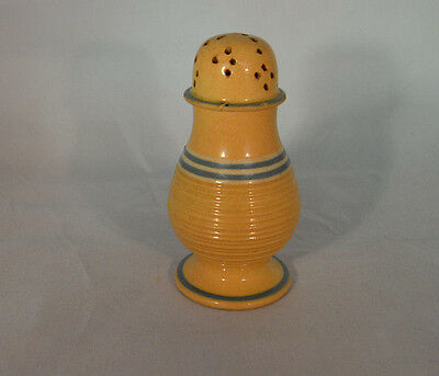 Yellloware Yellow Ware Pepper Pot with Blue Slip Bands and Engine Turnings