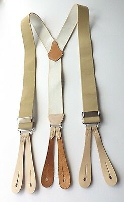 VINTAGE BUTTON BRACES Beige Elasticated with Leather Tabs UNUSED! FREE P&P