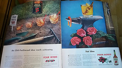 Vintage 1940s Four Roses Whiskey Ad Lot of 2