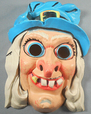 Vintage Vacuform Halloween Mask Unmarked Witch with Blue Hat