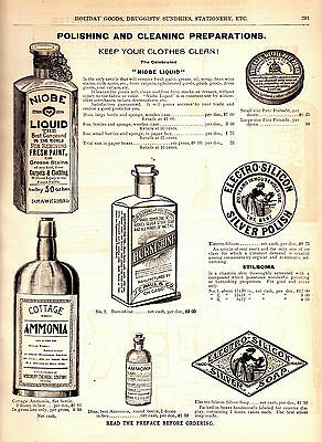 1893 Vintage Marshall Field Catalog Pg~ Silver Polish & Cleaning ~ Sewing Oiler