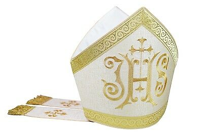 Weiß  Mitra, Mitre,Kasel,Messgewand,Casule, Chasuble, Vestment M11-G54