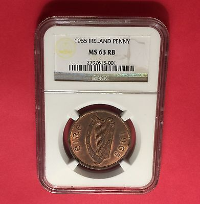 IRELAND 1965  ONE  PENNY NGC MS-63 RB..very nice coin.