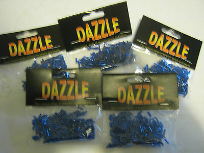 5 Packs Of Blue Dazzle Bugle Beads In Packs Of 8G Approx-Beads Crafts