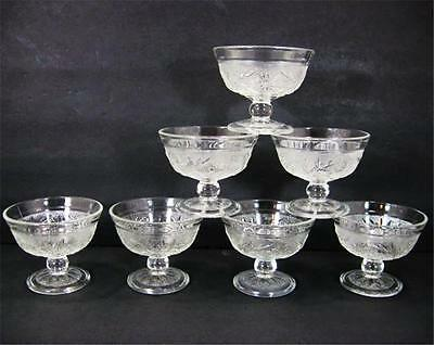 7 Anchor Hocking Glass Sandwich Pattern Footed Footed Sherbets