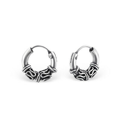 Tiny Oxidised 925 Sterling Silver Bali Style Hoop Earrings