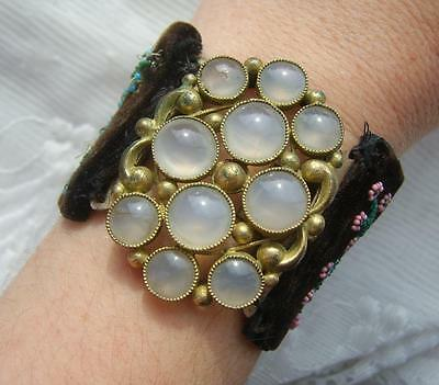 Georgian Bead Embroidered Butterfly Cuff Bracelet With Fabulous Moonstone Clasp