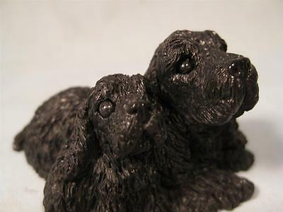 Stone Critter  Black Cocker Spaniel Mother & Puppy  SCL-177