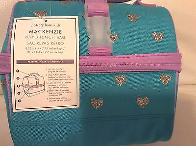 Pottery Barn Kids Mackenzie Retro Lunch Bag Teal Lavender Glitter Hearts NWT!