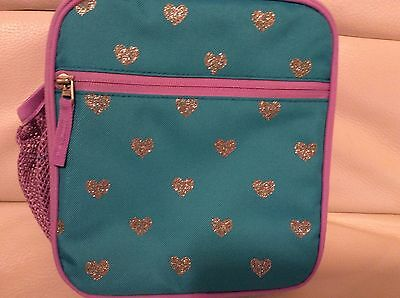 Pottery Barn Kids Mackenzie Classic Lunch Bag Plum Teal Lavender Glitter Hearts