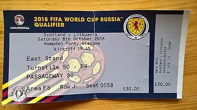 SCOTLAND v LITHUANIA – 8.10.16 – WORLD CUP QUALIFIER – USED TICKET