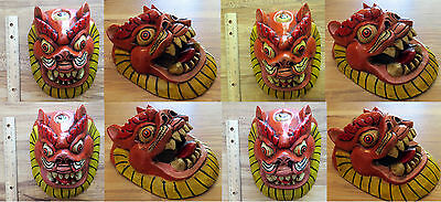 Wood Snow Lion / Foo Dog Mask: temple Buddhist Hindu wall hanging carving cat