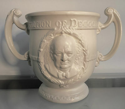 RARE 1940s Burleigh Ware Churchill FDR WW2 Champions of Democracy Loving Cup