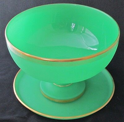 """Gilt French art glass green satin opaline punch bowl with under plate 12 3/4"""" d"""