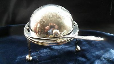 Vintage English-made silver-plated roll-top butter dish with spreader