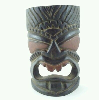 """7.75"""" In. Indonesian Hand Carved and Painted Wooden Wall Mask Tiki Bar"""