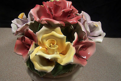 Capodimonte Floral Arrangement 8' in Pink and Yellow Roses, made in italy