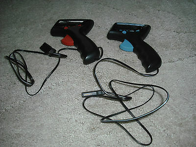 Two Scalextric C8437 Analogue Controllers Hand Throttle Red & Blue Triggers