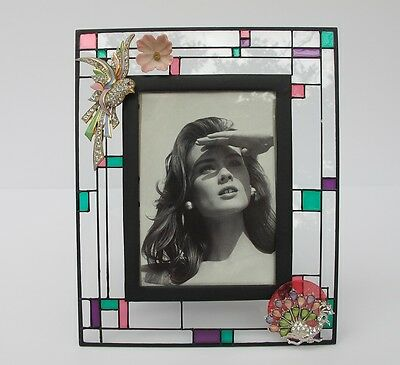 Stain Glass Look Frame with Bird Peacock Flower