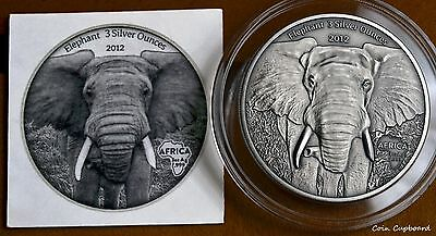 "2012 Gabon 2000 Francs AFRICA SERIES - 3 ounce ""Elephant""  antiqued ONLY 500 !!"