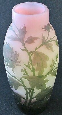 """French art glass tricolor green, pink and yellow Chrysanthemum cameo vase, 10"""" h"""