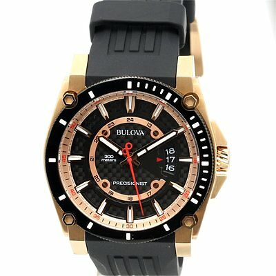 NEW Bulova Men's Precisionist 98B152 Black Rubber Band Casual Watch