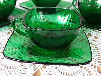 VTG Anchor Hocking Forrest Green Glass Charm Pattern Square Cup & Saucer 1960's