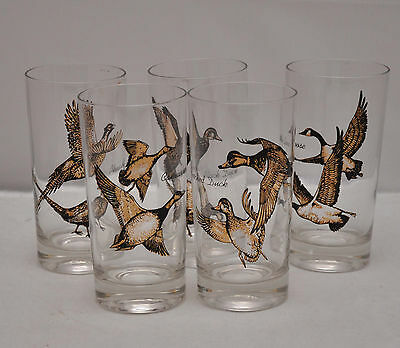 VTG Black and gold Duck Goose drinking glasses hunting Pheasant