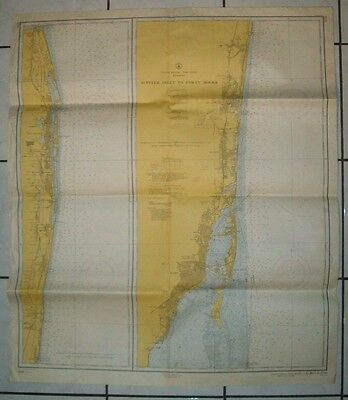 1959 Antique Nautical Map Chart of Florida Jupiter Inlet to Fowey Rocks 1248