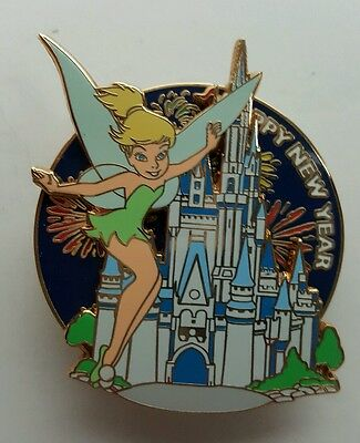 Happy New Year Tink Disney Fireworks Spinner Pin DA Auction on Card Tinker LE