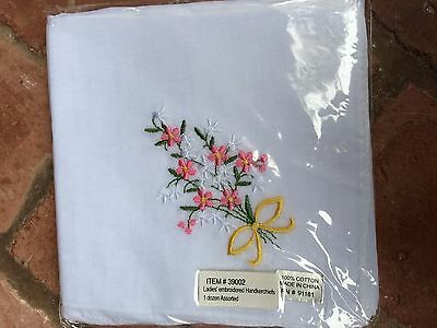 Ladies Embroidered Handkerchiefs, 1 Dozen, Unopened Packaging, 100% Cotton, New