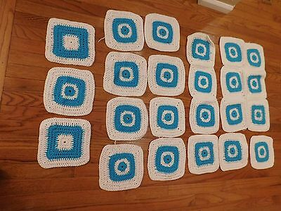Lot 23 Loose Handmade Granny Squares ~Unfinished Afghan, Teal & White
