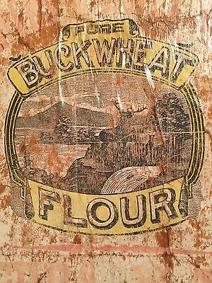 Antique Pure Buckwheat Flour Wooden Food Advertising Sign With Hanger