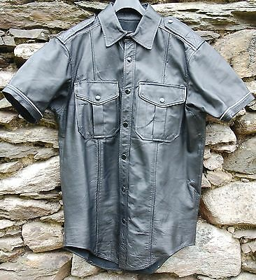 black leather uniform shirt with white leather piping Bluf ILM Folson Leatherman