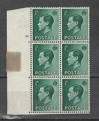 King Edward Vlll Blok Of 6 With Cylinder No A36 No 12 All Stamps Unmounted Mint