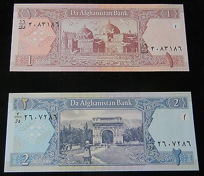 SET OF 2 BEAUTIFUL UNCIRCULATED Afghanistan 1  AFGHANI & 2 AFGHANI Banknotes