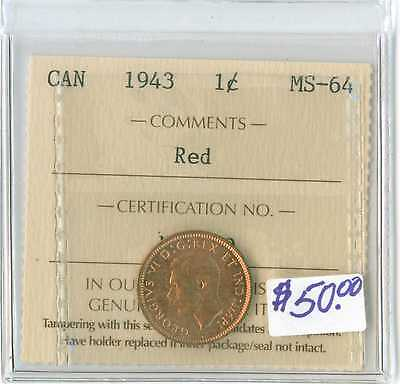 1943 Canada One Cent ICCS MS 64 RED PENNY