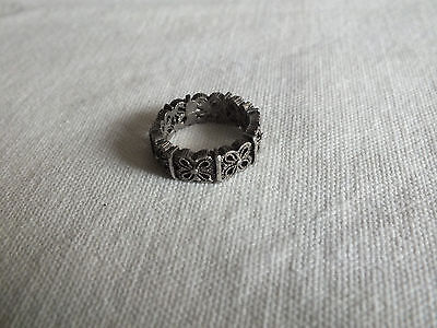 "Beautiful Dark Silver Tone Cocktail Ring Band Size 6 1/2 x 1/4"" Wide CuTe"