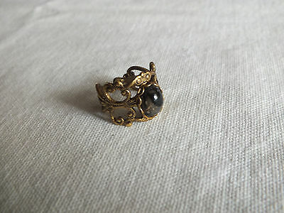 "Beautiful Ring Gold Tone Filigree Marbled Cabochon Size 7 x 5/8"" Face NICE"