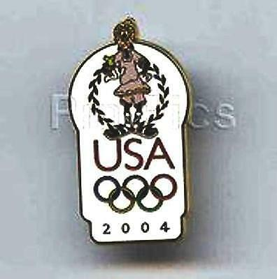 GOOFY POSING WREATH on HEAD USA OLYMPICS LOGO 2004 DISNEY PIN 30892