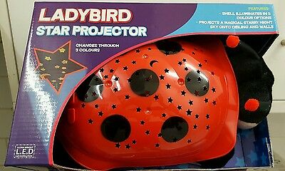 Ladybird Star Projector  Changes Through 3 Coloures