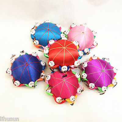 Exquisite 4pcs Chinese Handmade Classic Silk Pin&Needle Cushion With 8 Cute Doll