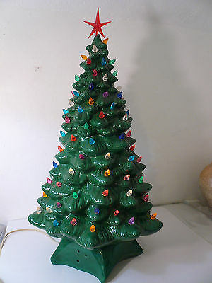 Large Vintage Ceramic Christmas Tree Green HCM Holland Mold Excellent 24.5""